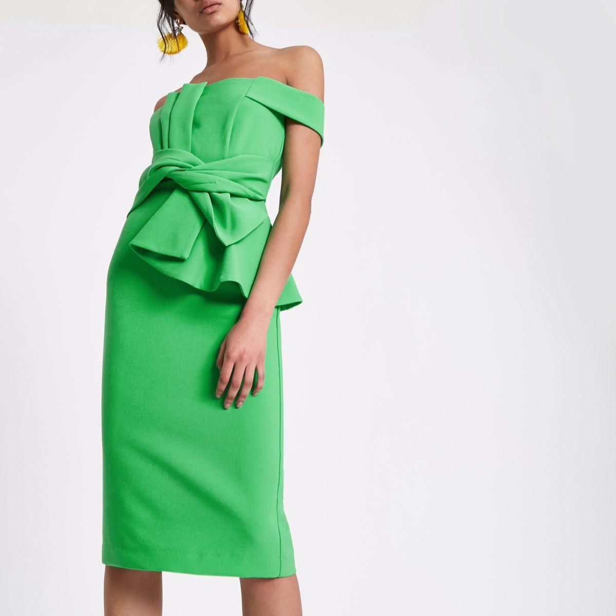 Green bardot tie front bodycon dress