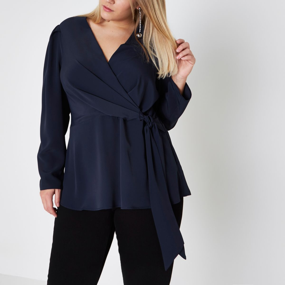 Plus navy wrap long sleeve blouse
