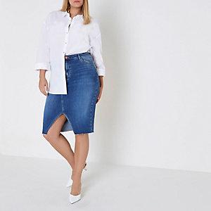Plus – Jupe crayon en jean bleu moyen fendue sur le devant