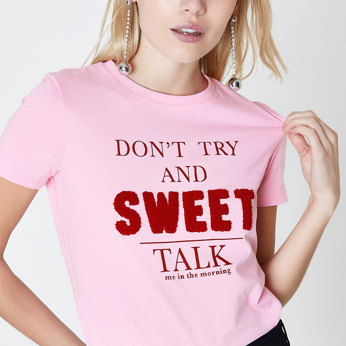 Petite pink 'sweet talk' print T-shirt