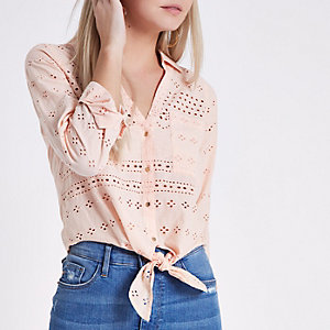 Petite pink broderie knot front cropped shirt