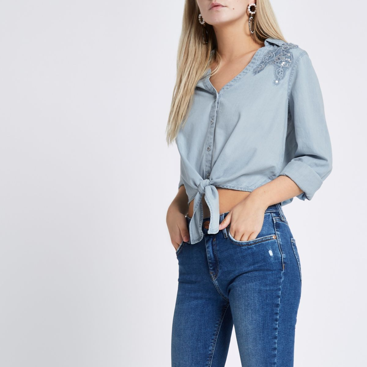 Petite blue tie front cropped denim shirt