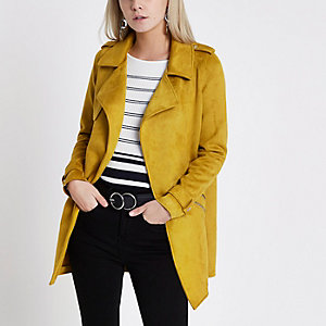 Petite mustard yellow faux suede trench coat