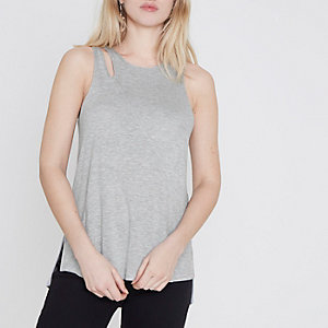 Grey cut out loose fit vest top