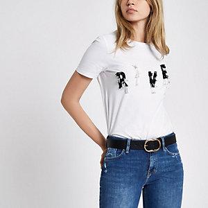 """Weißes T-Shirt mit """"River""""-Paillettenverzierung"""