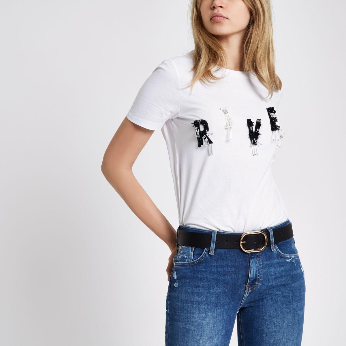 White 'river' sequin embellished T-shirt
