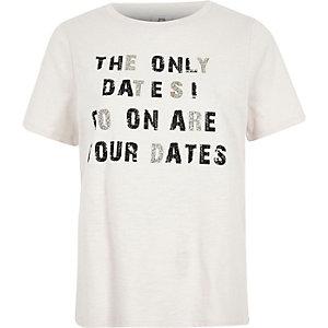 Beige T-shirt met 'Tour dates'-glitterprint