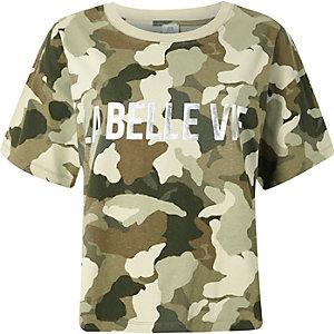 Kaki 'la belle vie' T-shirt met camouflageprint