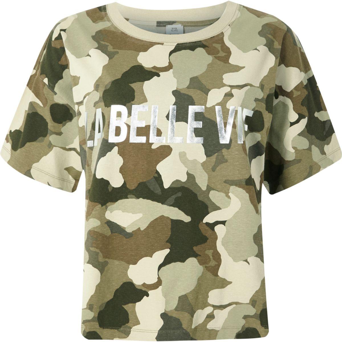 Khaki camo 'la belle vie' print T-shirt