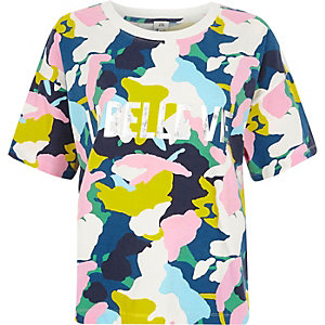 Blue multicolored camo print T-shirt