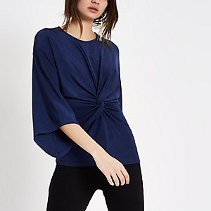 Navy twist front bell sleeve top
