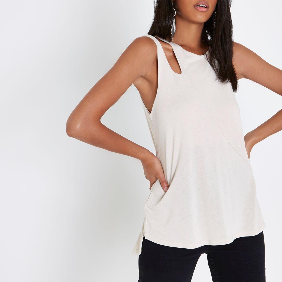 Beige split shoulder vest