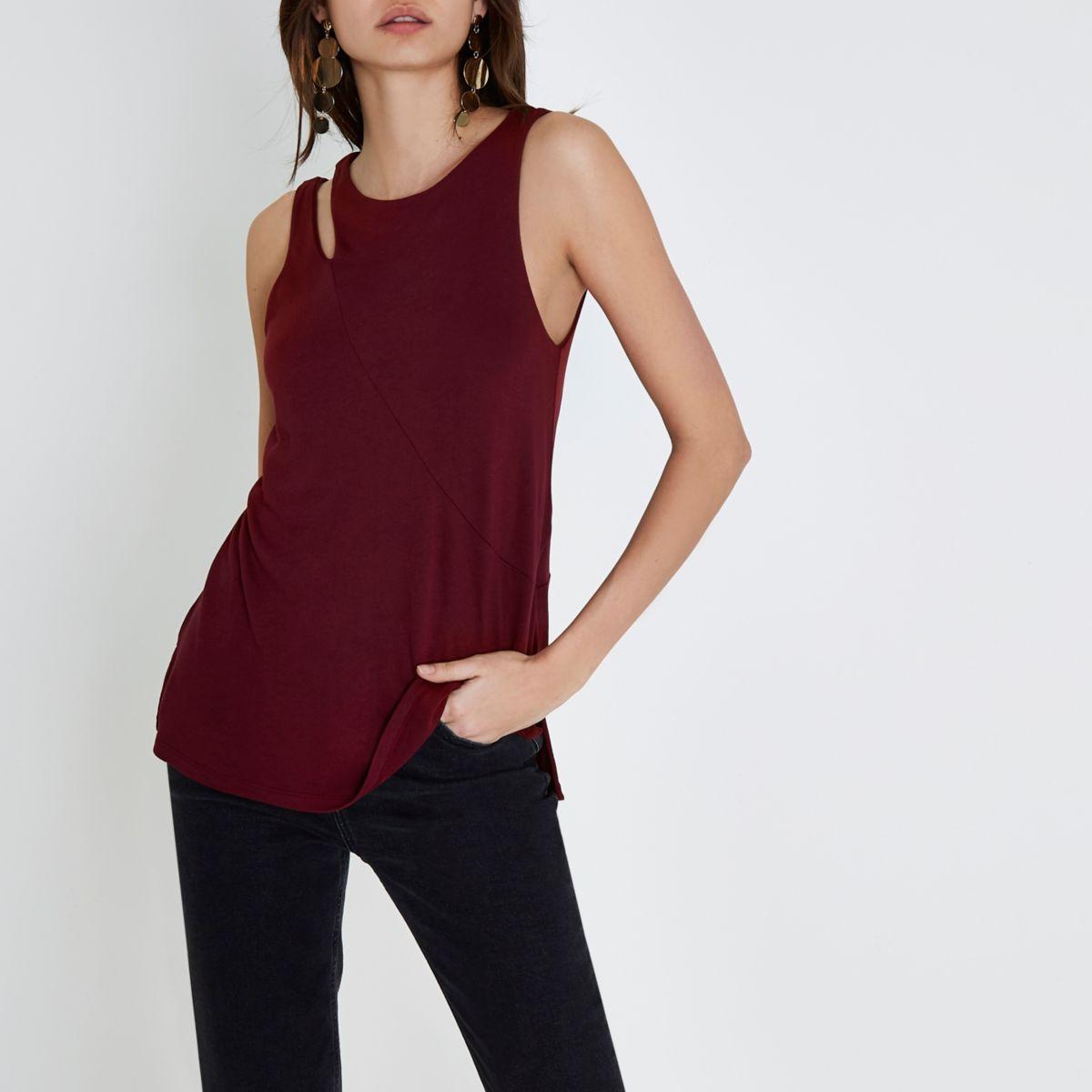 Dark red split shoulder vest