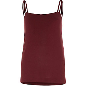 Dark red double strap cami top