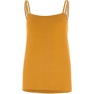 Mustard yellow double strap cami top