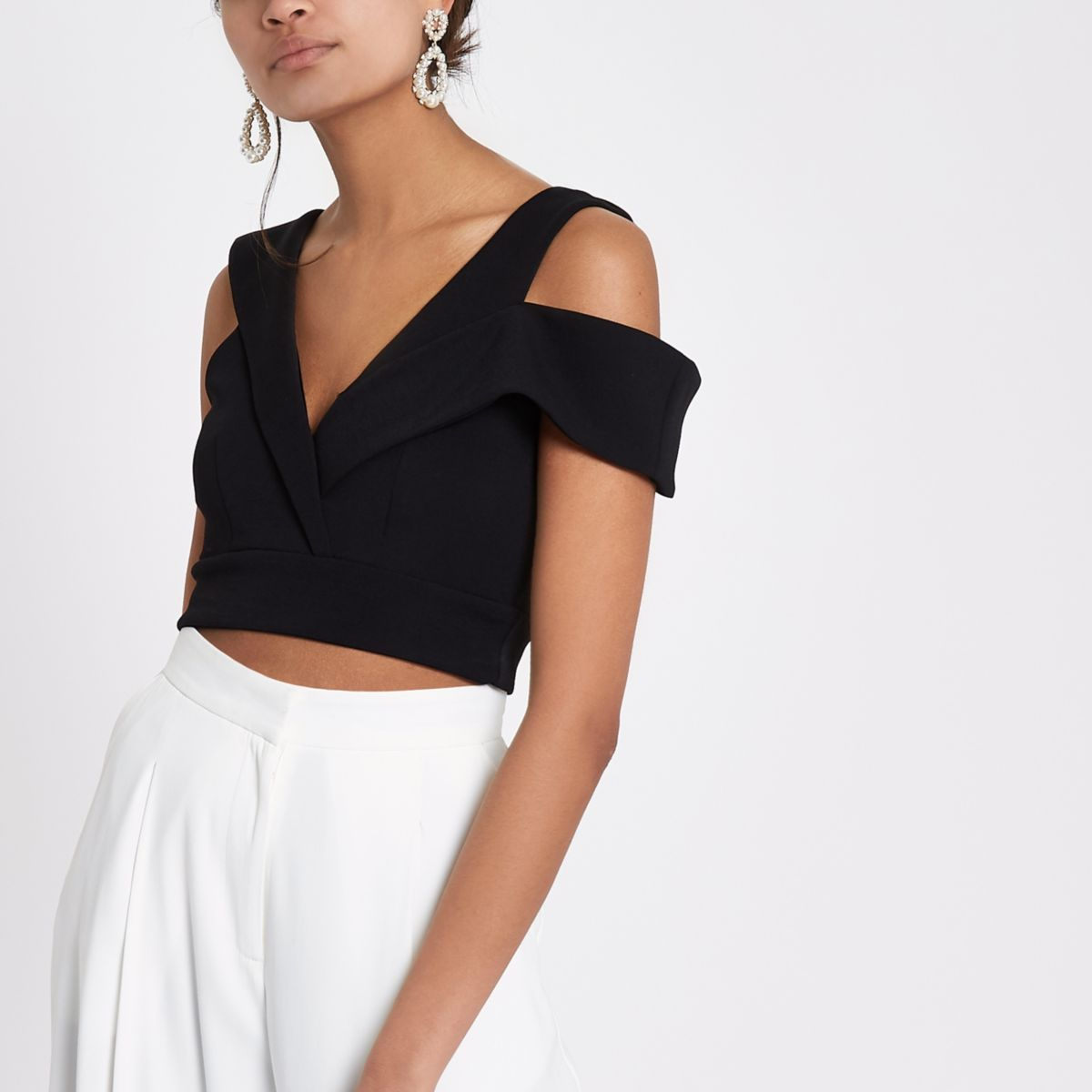 Black tailored detail cropped bralet