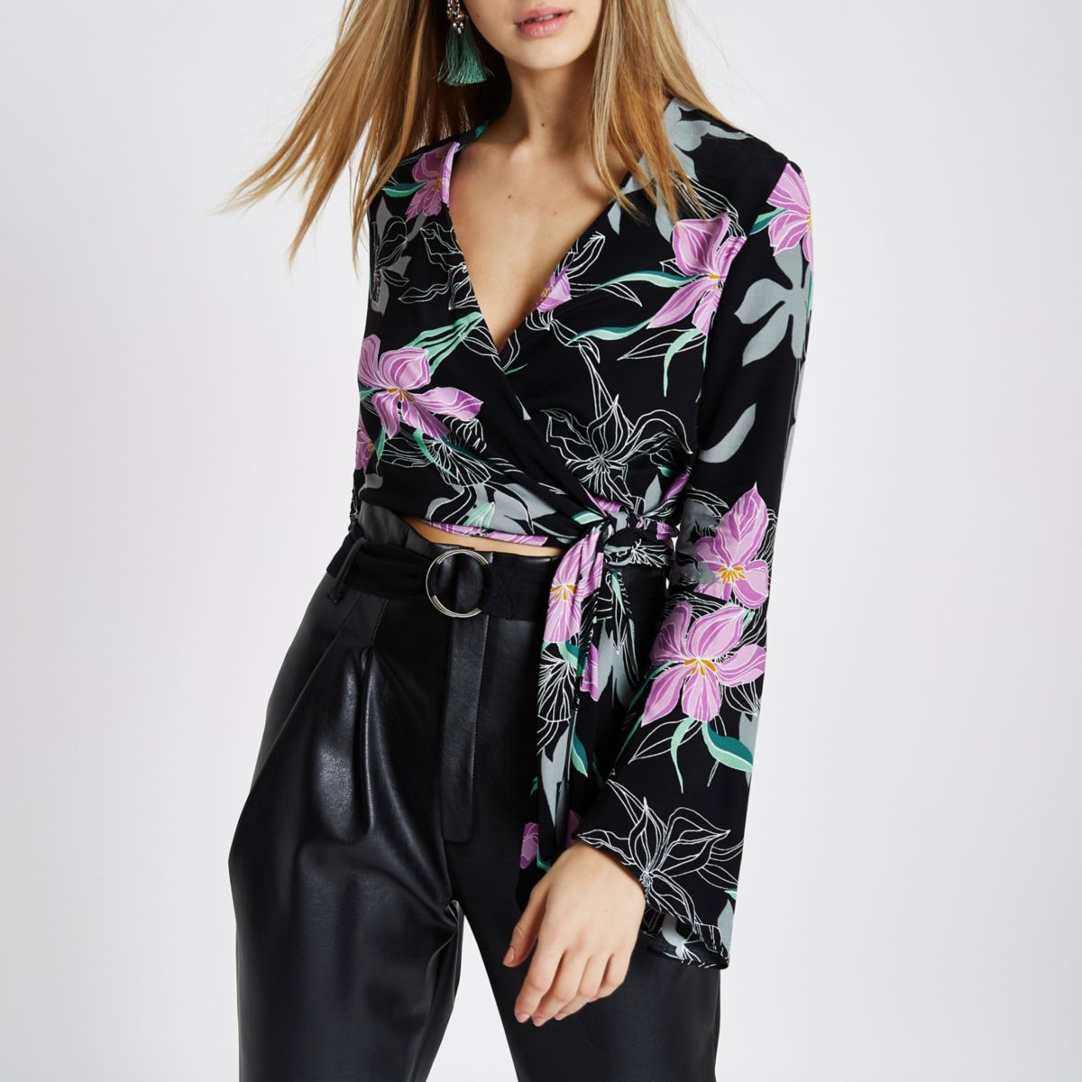 Black floral wrap bell sleeve crop top