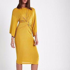 Gele midi-jurk met knoop voor