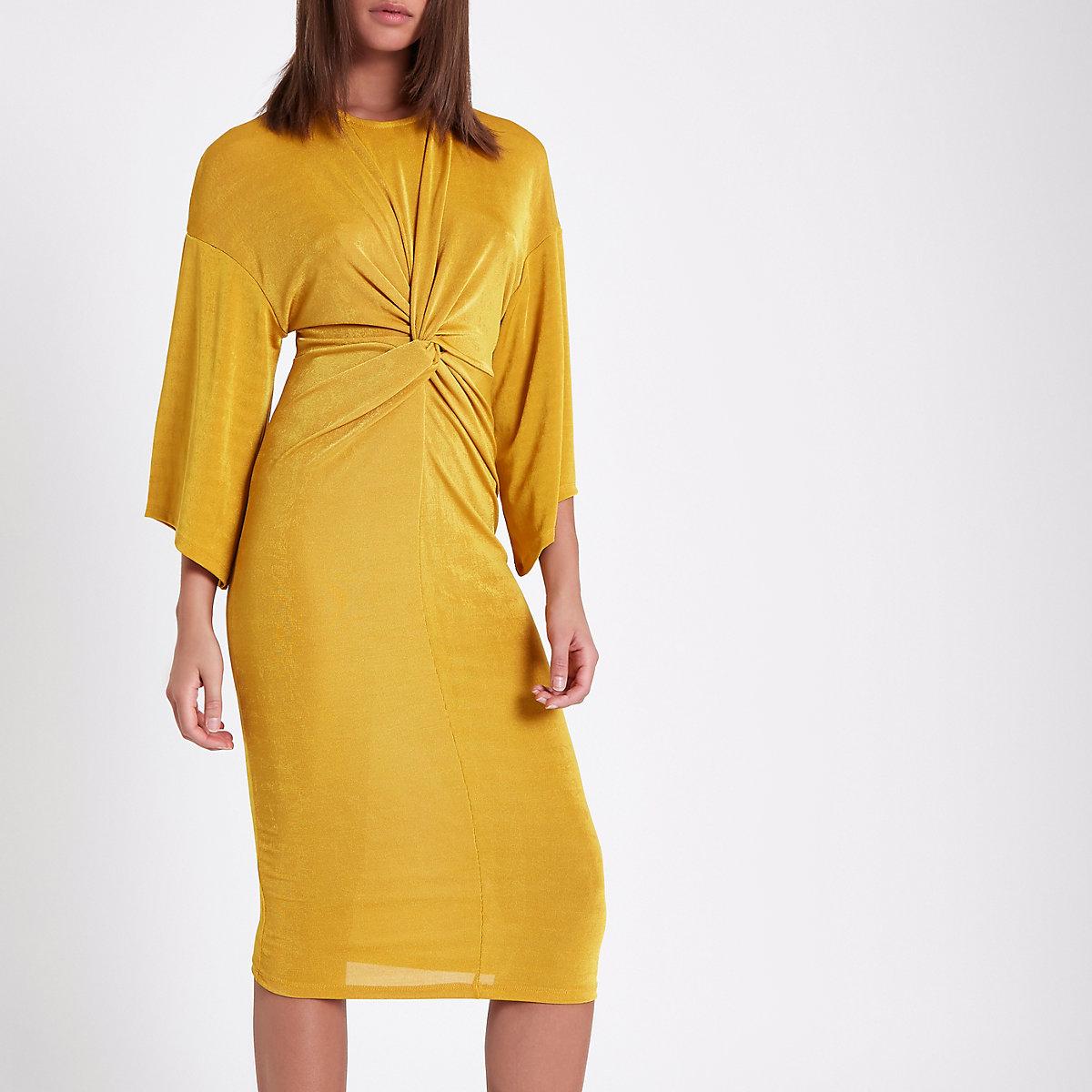 Yellow knot front midi dress