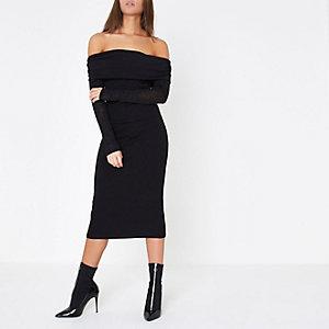 Black ruched folded bardot knit midi dress