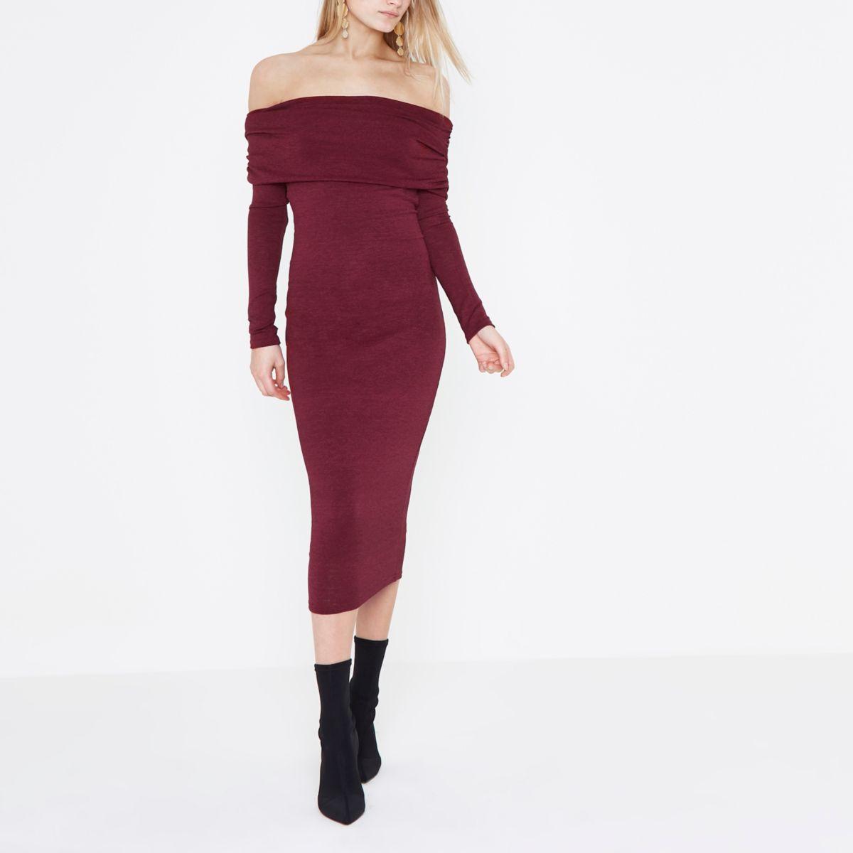 Dark red ruched folded bardot knit midi dress