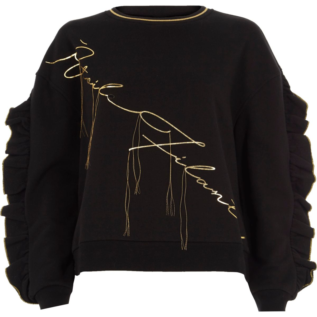 Black 'etoile filante' ruffle sweatshirt