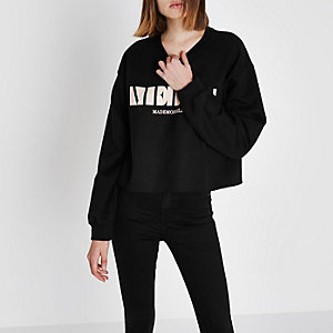 Black 'merci' block print sweatshirt