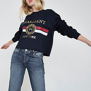 Navy 'Charmant' stripe cropped sweatshirt