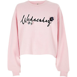 Pink 'Wednesday' flocked 3D flower sweatshirt