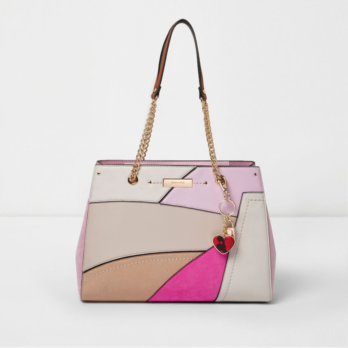 Pink cutabout front heart charm tote bag