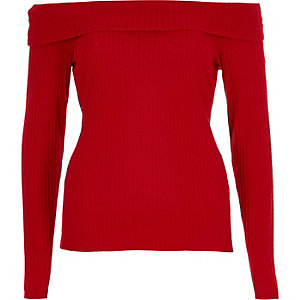 Red brushed rib long sleeve bardot top