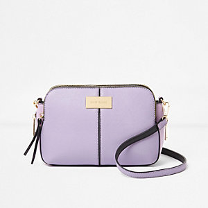 Purple triple compartment cross body bag