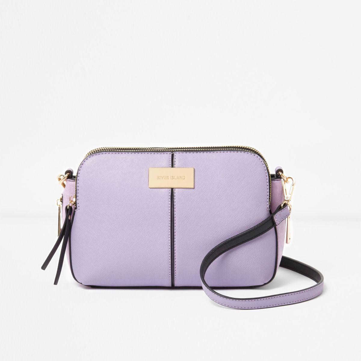 Purple triple compartment cross body bag