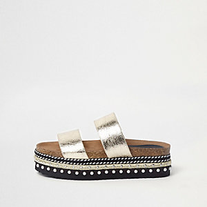 Flache Slipper in Gold-Metallic