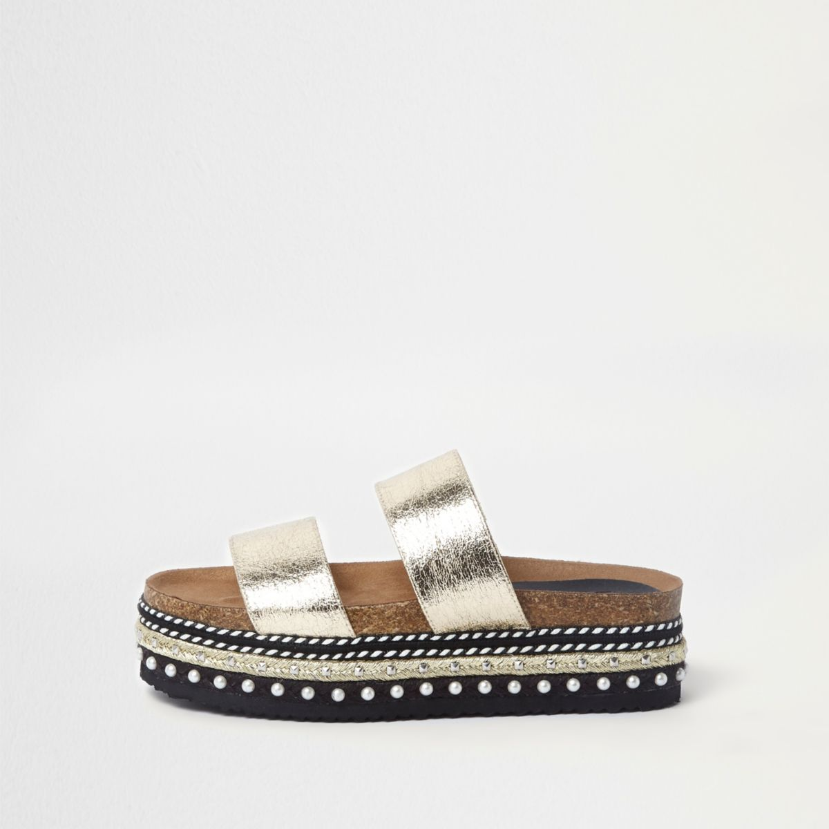 Gold metallic embellished flatform sliders
