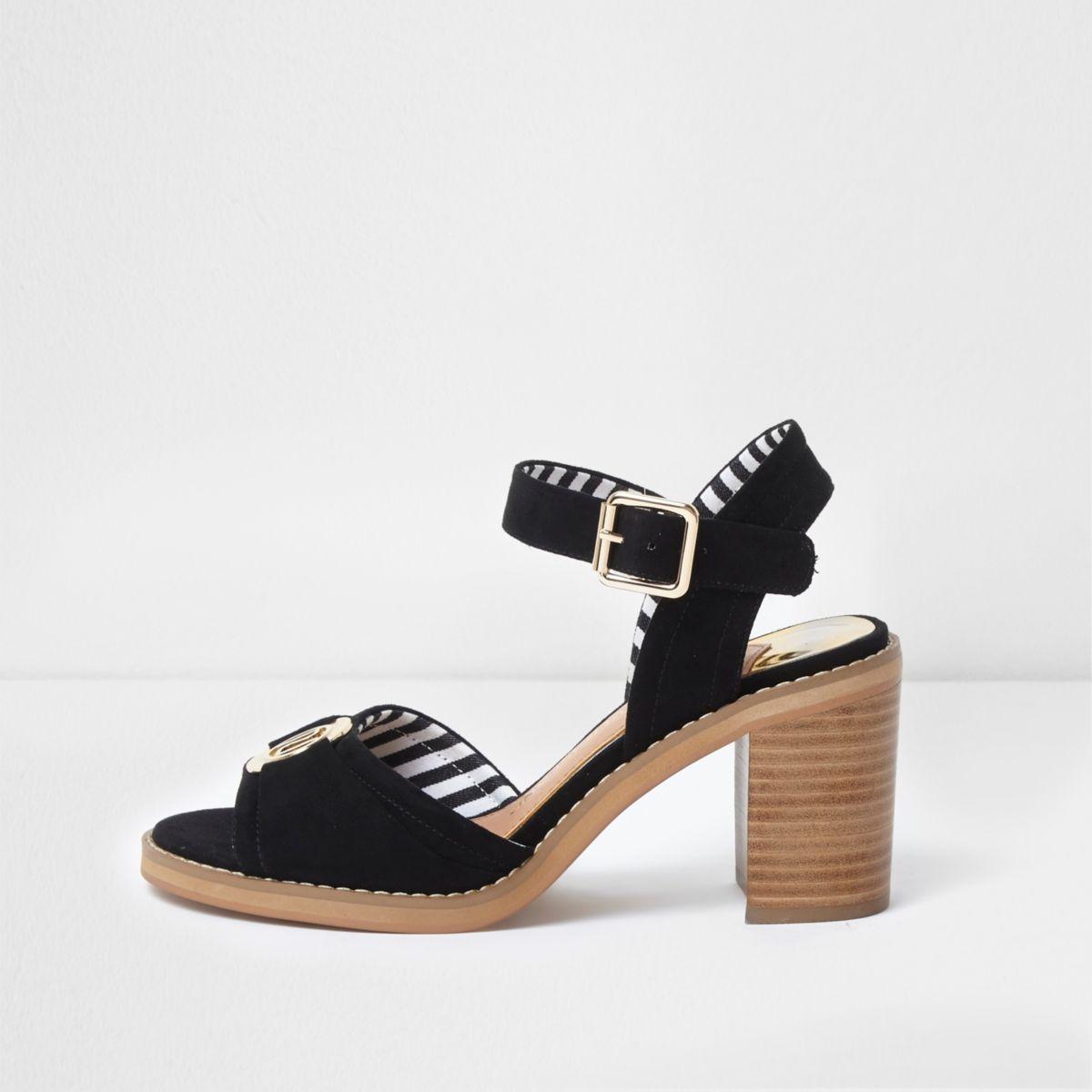 Black and gold tone RI block heel sandals
