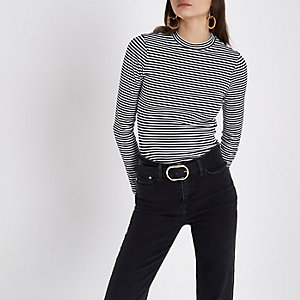 Black stripe high neck long sleeve top