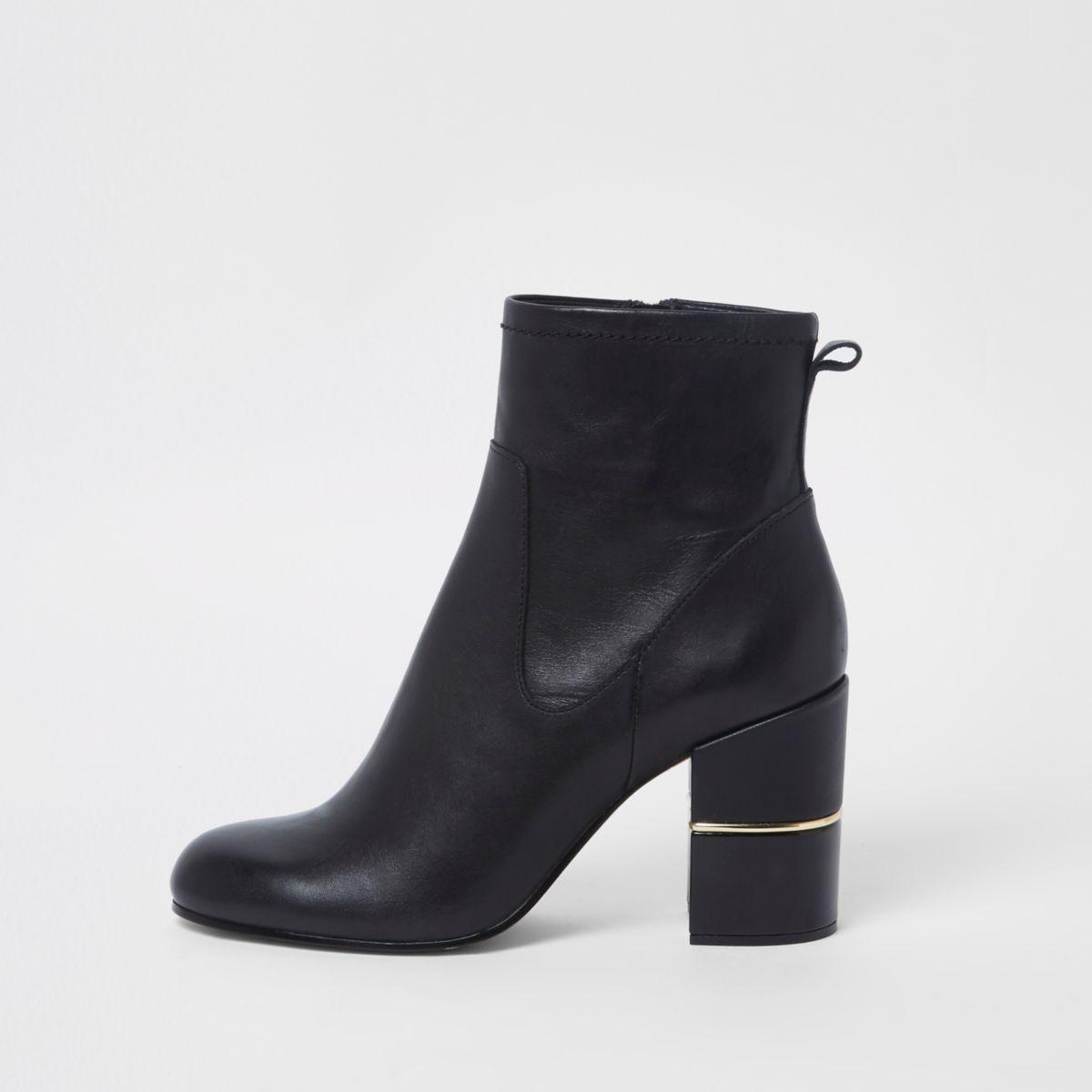 Black leather block heel heel ankle boots