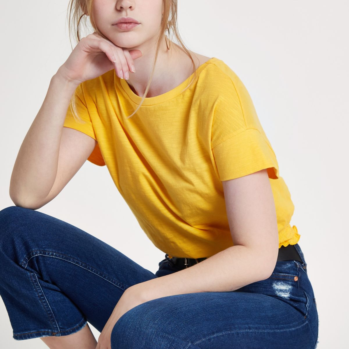 Bright yellow shirred hem T-shirt
