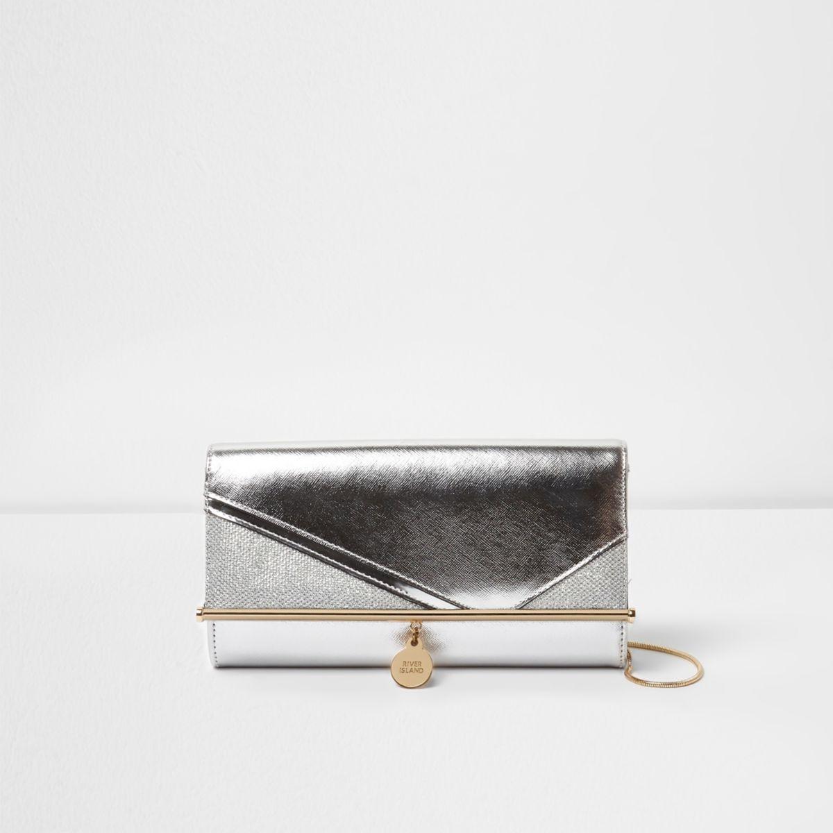Silver metallic glitter cutabout clutch bag