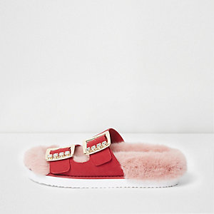 Pink faux fur rhinestone buckle sandals