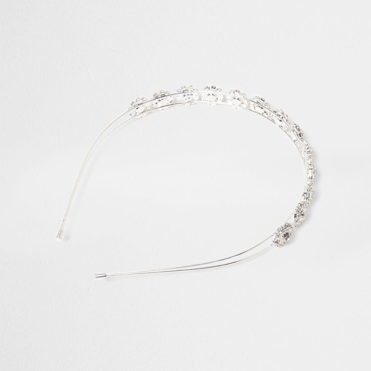 Silver tone diamante flower hair band