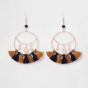 Gold tone tassel drop hoop earrings