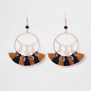Gold tone tassel drop hoop earrings