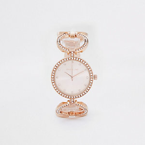 Rose gold tone rhinestone pave circle watch