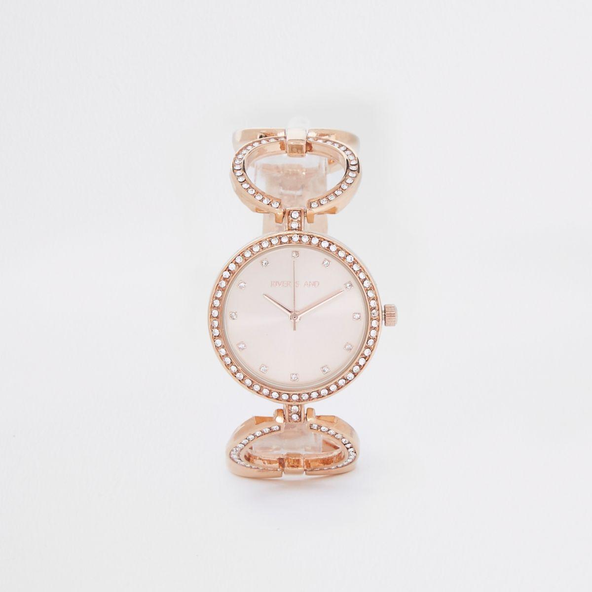 Rose gold tone rhinestone pave circle watch