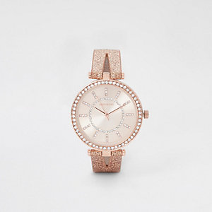 Roségoudkleurig horloge met siersteentjes en gespleten bandje