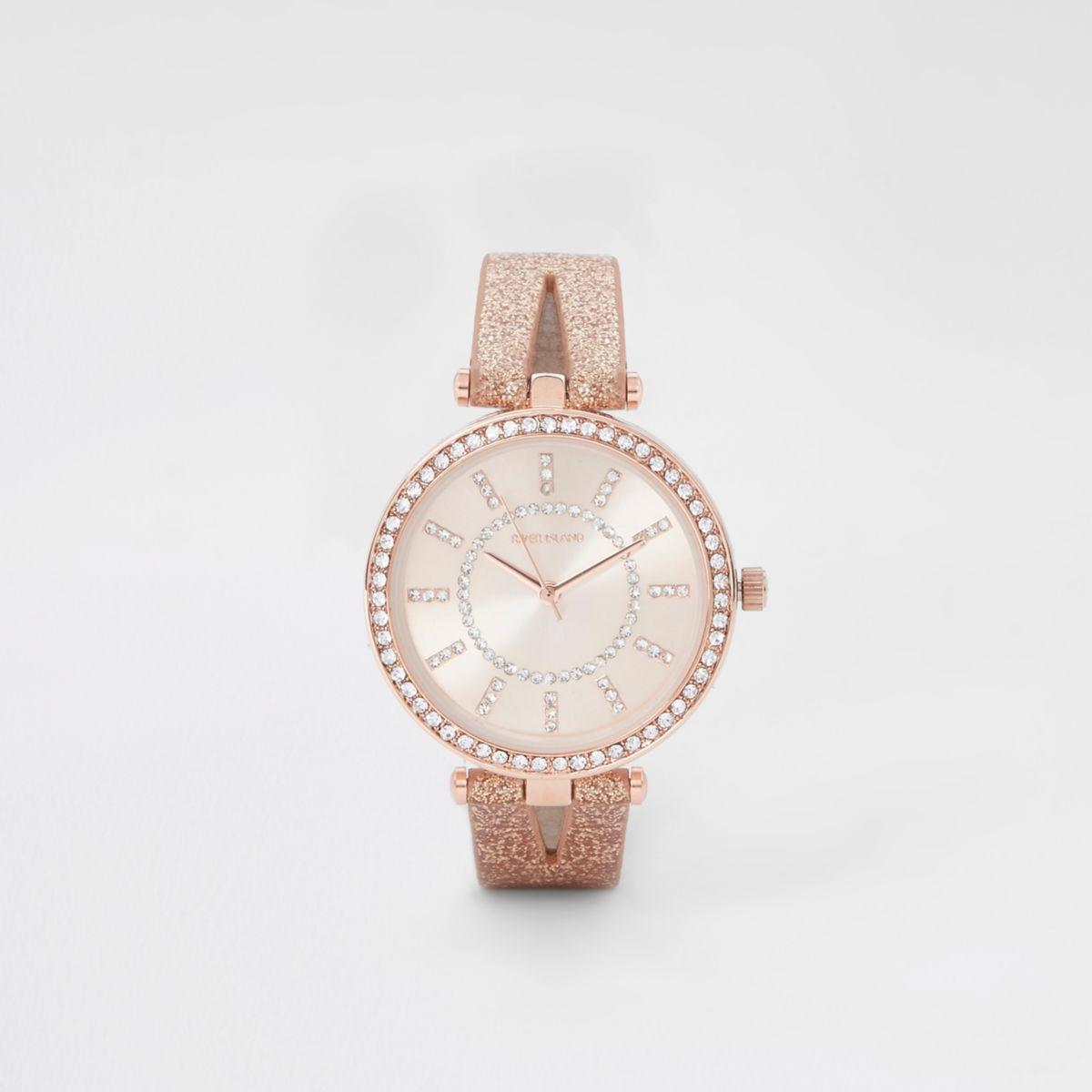 Rose gold tone split strap rhinestone watch