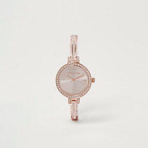 Rose gold tone rhinestone pave delicate watch