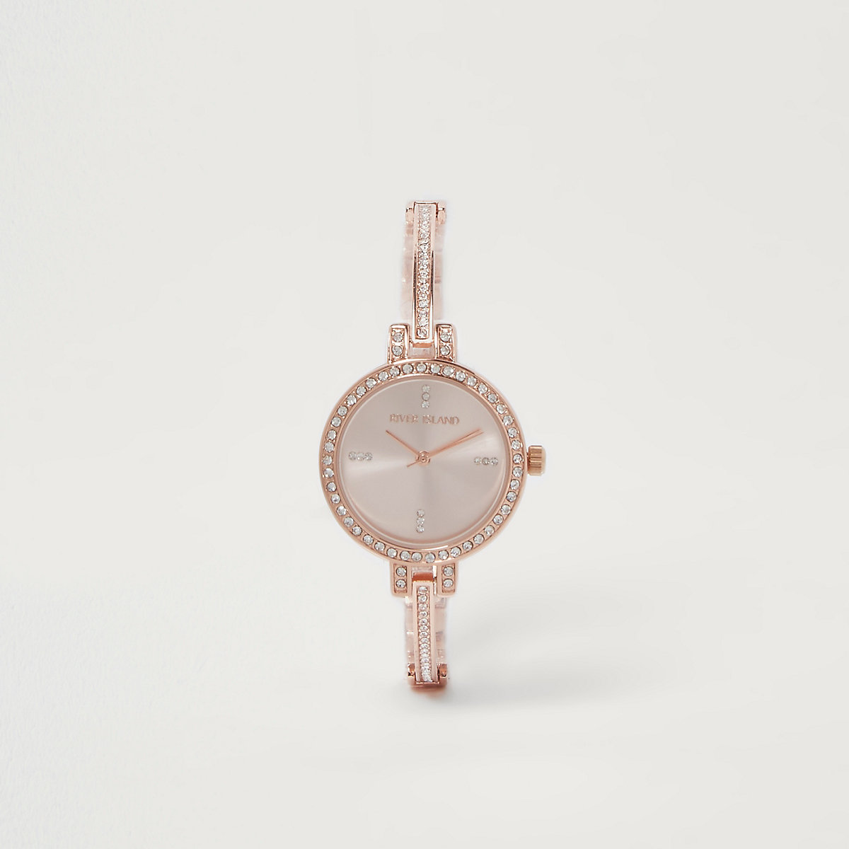 Rose gold tone rhinestone pave delicate watch